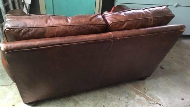 Restoration Hardware Brown Leather Sofa Chairish