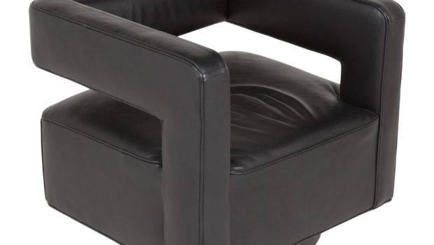 Restoration Hardware Leather Swivel Chair Furniture