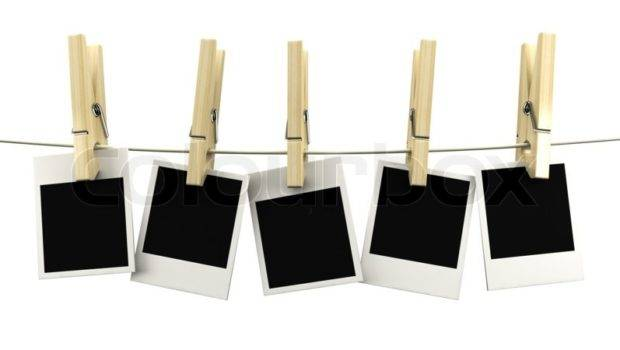 Retro Frame Hanging Rope Wooden Clothespins