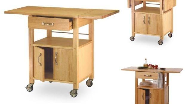 Rolling Kitchen Cart Utensil Drawer Shelf Storage Cabinet Drop Leaf