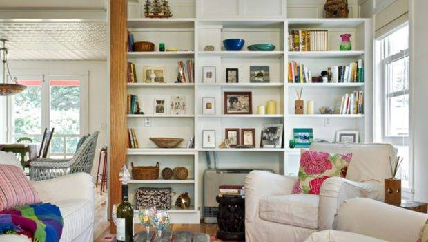 Room Decorating Ideas White Armchairs Built Bookshelves