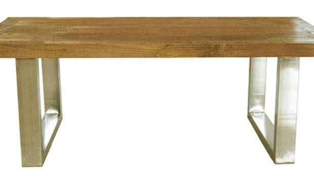Rough Elm Stainless Leg Dining Table Large Tables