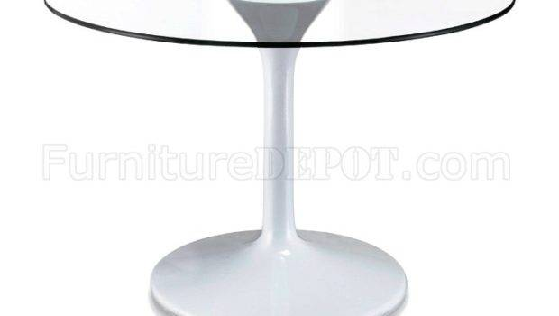 Round Glass Top Modern Dining Table Zdt Universe