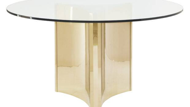 Round Metal Dining Table Glass Top Bernhardt