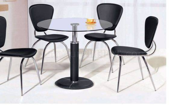 Round Shape Dining Table Glass Top Black Base