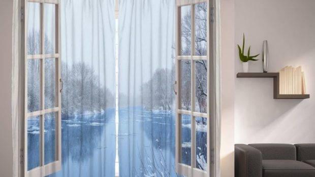 Set French Door Forzen Lake Window Panels Winter Snow