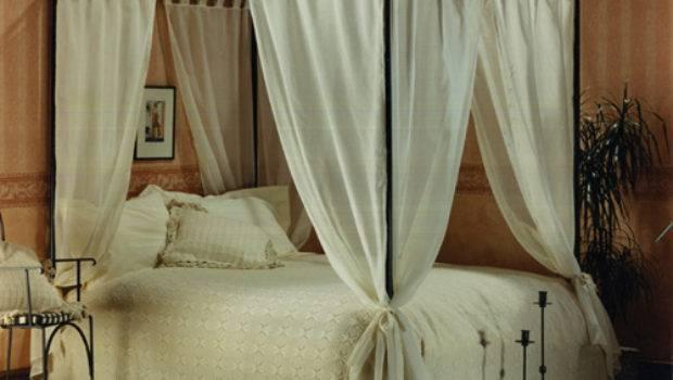 Set Voile Cotton Four Poster Bed Curtains