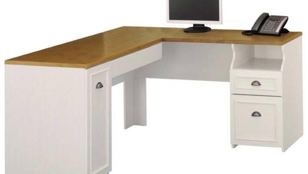 Shaped Desk Hutch White Corner Computer