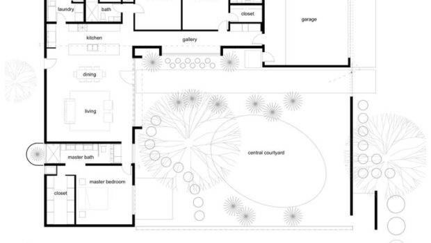 Shaped House Plans Courtyard Back Six