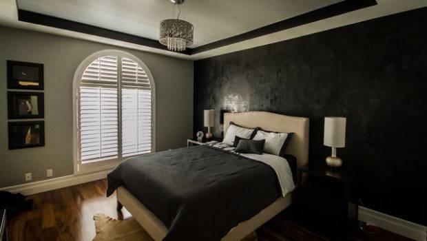 Sherman Oaks Condo Modern Lamps Black Gray Bedroom