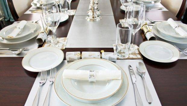 Simple Clean Elegant Gold Silver Traditional Table Setting