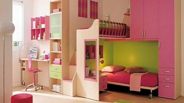 Small Bedrooms Little Girl Bedroom Pink Storage Bunk Bed