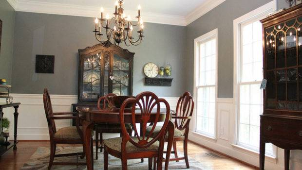 Smoky Blue Dining Room Brown Black Accents