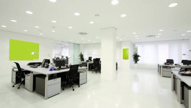 Spacious Cool Office Desk Design White Nuance Featured Ceiling