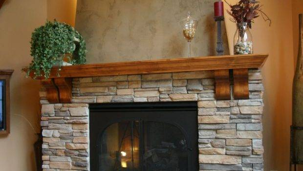 Stack Stone Fireplace Top Stacked