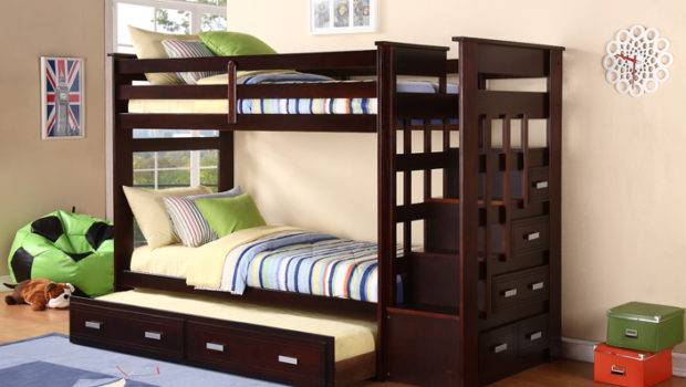 Stackable Bunk Bed Storage Stairs Trundle Bunkbed