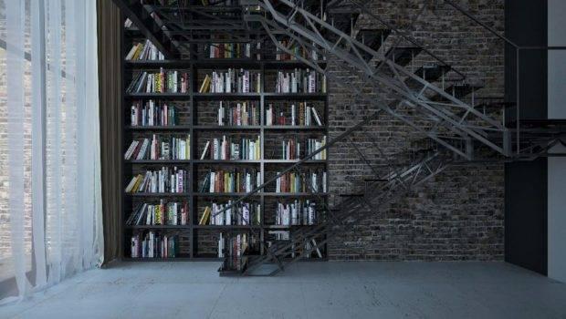 Stunning Floor Ceiling Bookshelf Spans Wall Behind Old