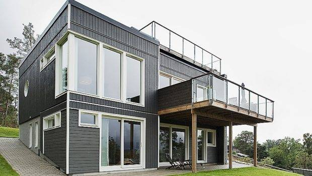 Swedish House Dark Wooden Exterior Detached Garage Near