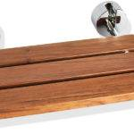 Teak Wood Wall Mounted Folding Shower Seat Steamspa Chrome