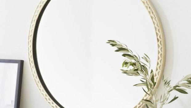 Thin Textured Round Mirror Mediterranean Wall Mirrors