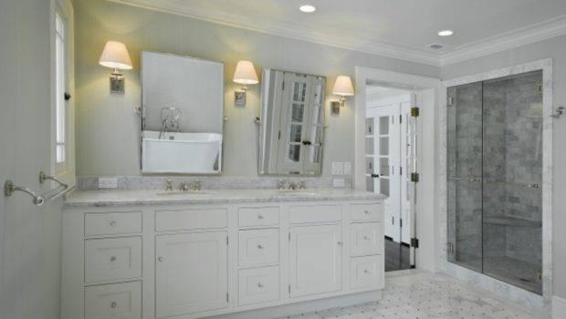 Tile Basketweave Bath Vanities White Bathroom Floor