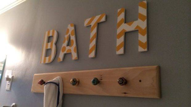 Towel Hooks Bathroom Painters Tape Pattern Letters Routed