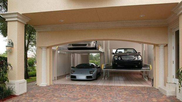 Two Car Garage Turned Into Four Hydraulic Lifts