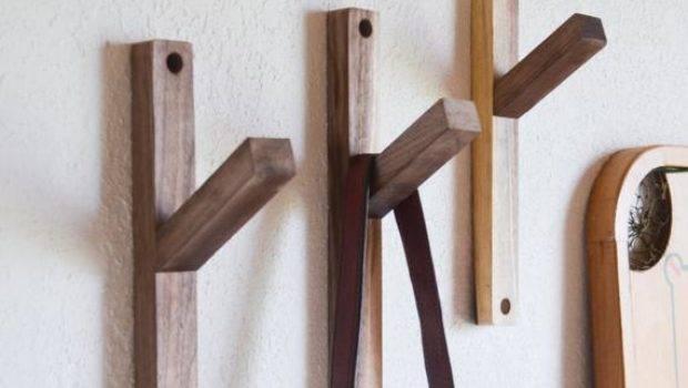 Two Reclaimed Black Walnut Wall Hooks Modern Minimalist