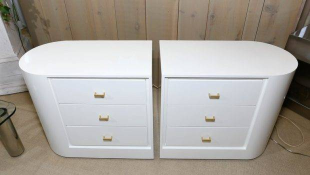 Unusual Pair White Lacquer Mid Century Three Drawer Nightstands
