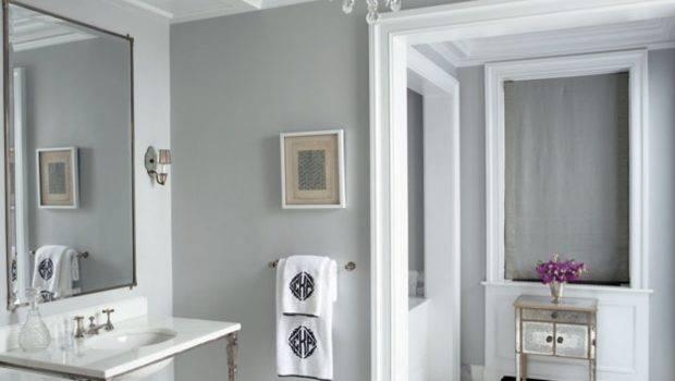 Vanities Chandelier Greek Key Gray Walls Paint Color Bathroom