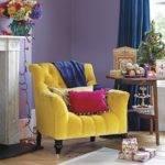 Vibrant Purple Yellow Living Room Decorating