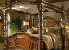 Villa Valencia Luxury King Poster Canopy Bed Marble