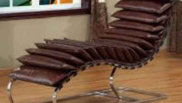 Vintage Brown Leather Pillow Unique Curved Chaise Lounge