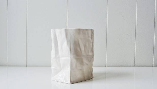 Vintage Ceramic Paper Bag Sculpture Vase Mintmoss Etsy