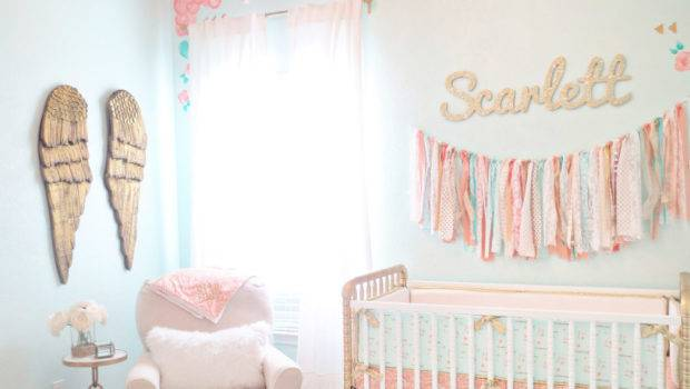 Vintage Lace Inspired Mint Gold Nursery