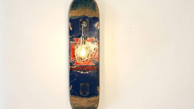 Vintage Skateboard Lamp Sconce Industrial Blue Wood Wearemfeo