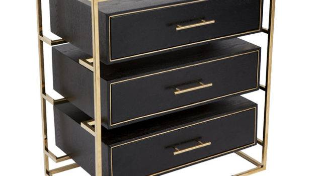 Vogue Black Gold Bedside Table Inhouse Collections