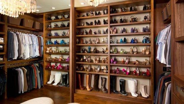 Walk Closet Tilted Shoe Shelves Transitional