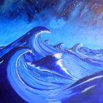 Waves Monochromatic Painting Blues