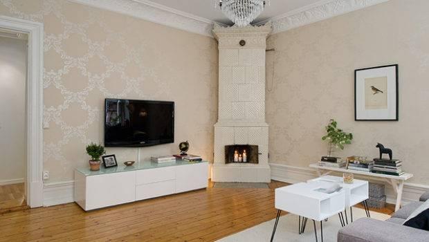 White Beige Small Flat Interior Dark Accents