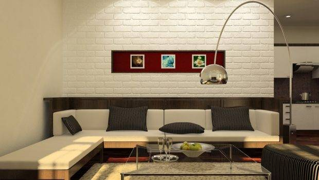 White Brick Wall Living Room Kitchen Design