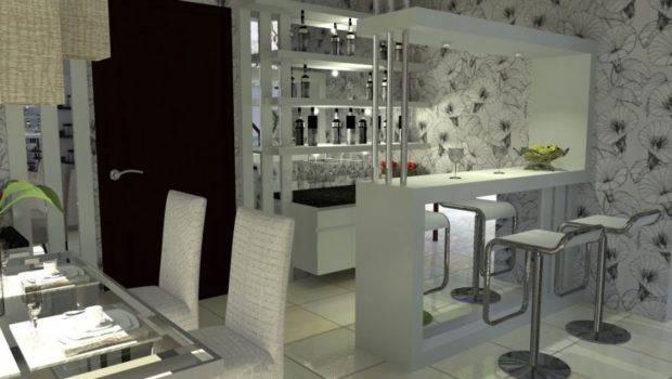 White Contemporary Design Home Bar