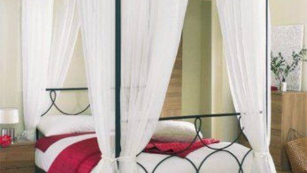White Four Poster Voile Bed Set Mill Shop
