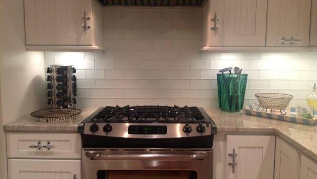 White Glass Subway Tile Backsplash Home Decor