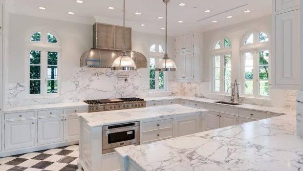 White Kitchen Black Harlequin Tile Floor