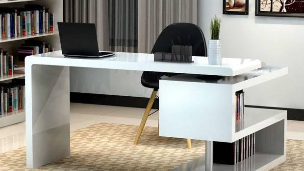 White Modern Home Office Desk Return