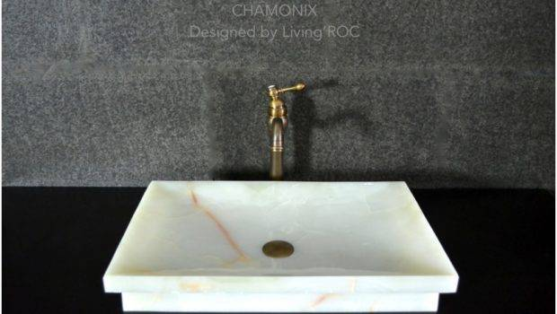 White Onyx Stone Bathroom Vessel Drop Sink Chamonix