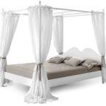 White Polished Wooden Canopy Bed Cuurtain Every Side
