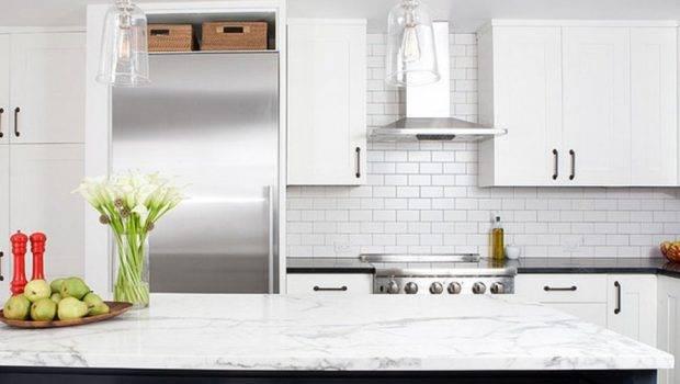 White Porcelain Subway Tile Backsplashes Compliment Granite