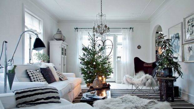 White Scandinavian Home Decorated Christmas Denmark